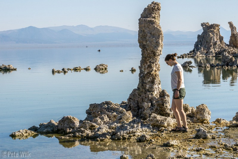 Quick tourist stop to Mono Lake to check out the tufas.  Springs entering the lake have minerals and mixed with the water to form these limestone structures.  Since the source streams for the lake were detoured to LA the level of the lake dropped leaving these structures exposed.