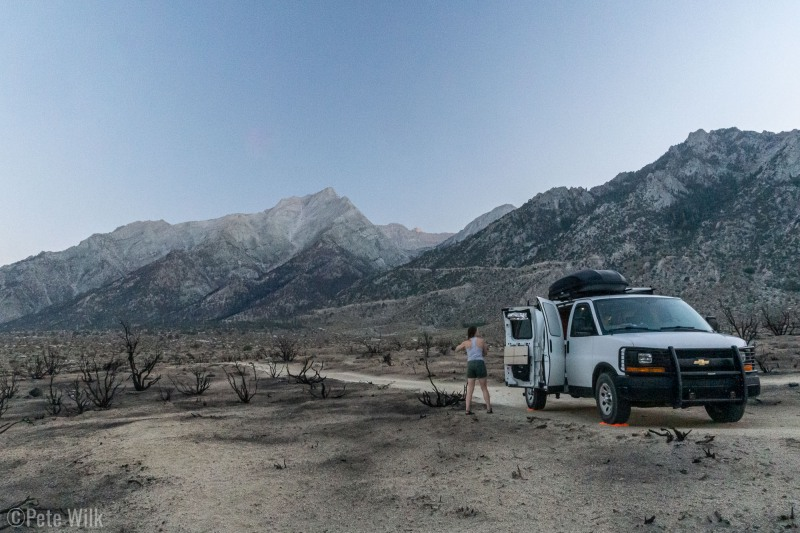 Heading to outside of Lone Pine, CA for our trip up to Mt. Whitney.  We camped at the highest elevation we could to avoid the heat, but it was still pretty low down.  This area had experienced a fire a month or two ago.