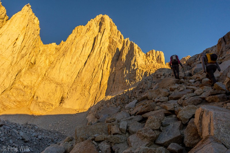 More approach sunrise views.  We are heading towards the right skyline of Mt. Whitney (highest point).