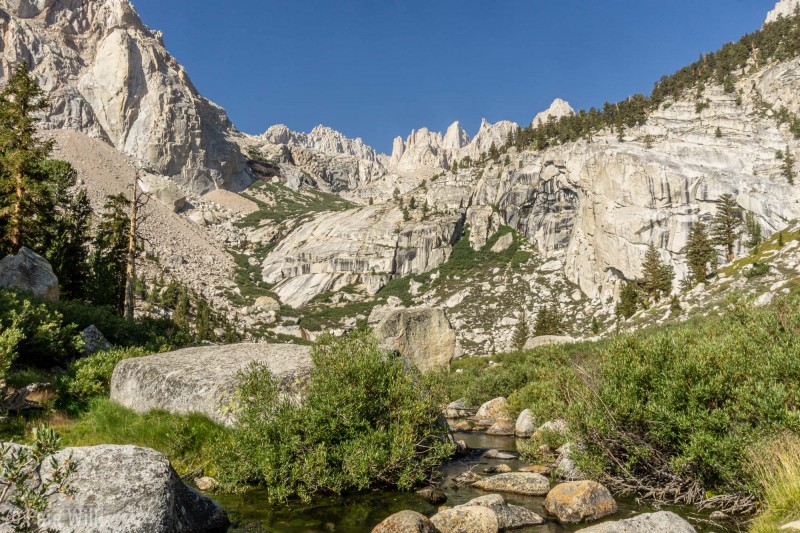 Much clearer looking up to Mt. Whitney from Lower Boyscout Lake than the day we came in.