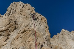 Ben on the crux pitch of the route.  While it is all there and only 5.7 there's not a lot of protection to be had.
