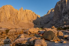 View looking back to the west.  The jagged rock peaks in the sun are blocking the view of Mt. Whitney.
