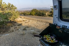 Making dinner by the side of the road before starting the drive home.