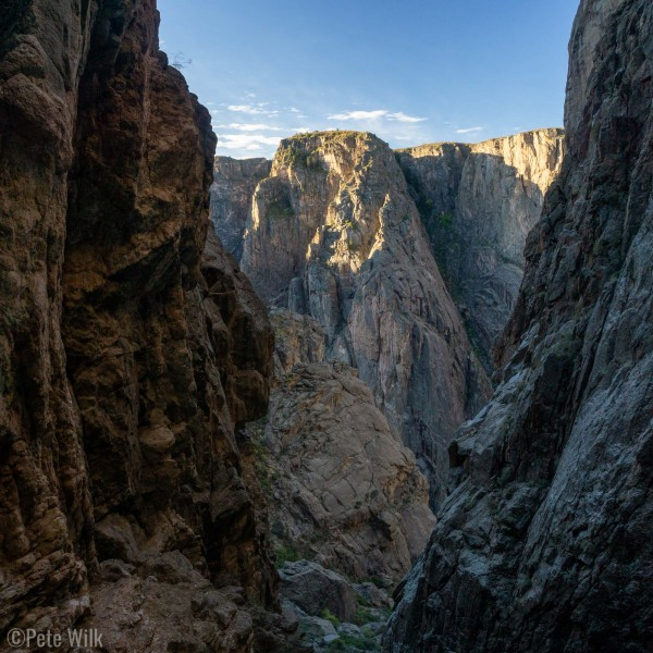 Heading down the Cruise Gully in the morning as the sun peaks into the canyon.
