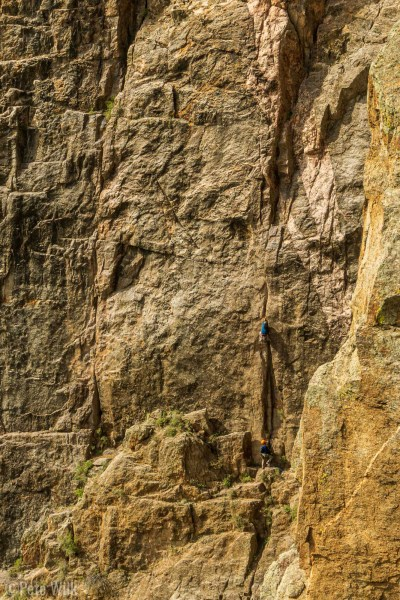 Looking back towards Midsummer's Night Dream (5.11a) as we were on Maiden Voyage (5.9).  There's a climber just getting into the difficult section of P2.