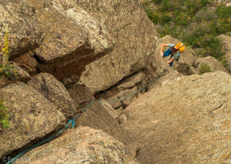 Micah coming up to the belay on P2 of Maiden Voyage (5.9).