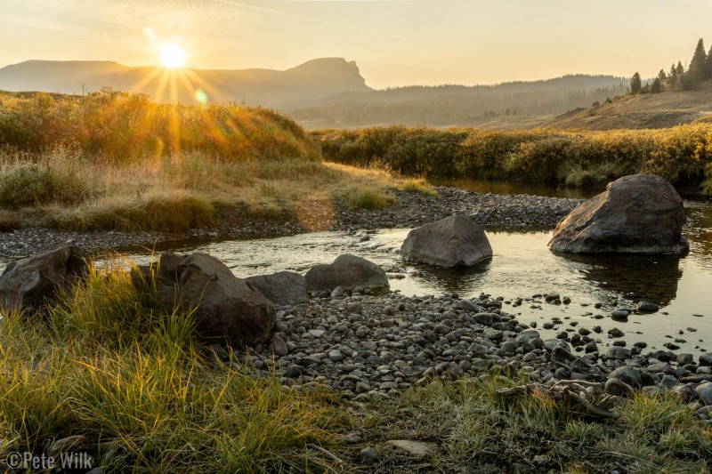 Sunrise over the small stream behind our van.  I looks around but didn't see any fish.  It was fairly low at this point in the season too.