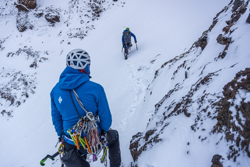 Doug leading the way across Avalanche Gulch gully.